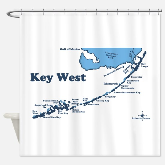 Key West - Map Design. Shower Curtain