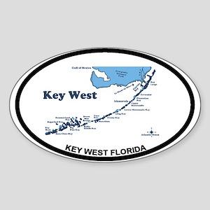 Key West - Map Design. Sticker (Oval)
