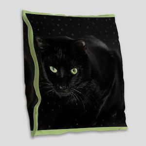 Mystical Black Cat Burlap Throw Pillow