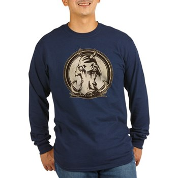 Distressed Wild Boar Stamp Long Sleeve Dark T-Shir