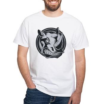 Distressed Wild Rhino Stamp White T-Shirt
