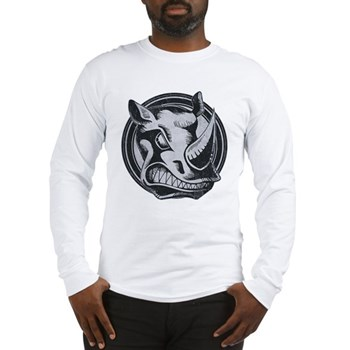 Distressed Wild Rhino Stamp Long Sleeve T-Shirt