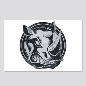 Distressed Wild Rhino Stamp Postcards (Package of