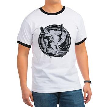 Distressed Wild Rhino Stamp Ringer T-Shirt