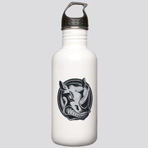 Distressed Wild Rhino Stamp Stainless Water Bottle