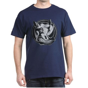Distressed Wild Rhino Stamp Dark T-Shirt