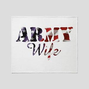 Army Wife American Flag Throw Blanket