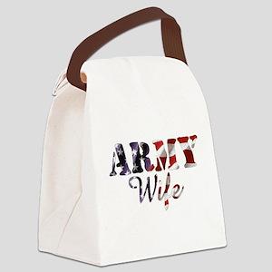 Army Wife American Flag Canvas Lunch Bag