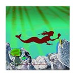 Green Mermaid Tile Coaster