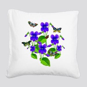Violets and Butterflies Square Canvas Pillow
