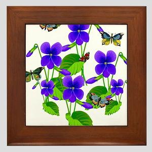 Violets and Butterflies Framed Tile