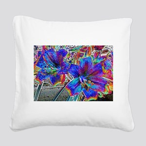 Amaryllis Lilies Square Canvas Pillow