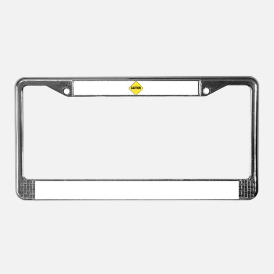 Caution Sign License Plate Frame
