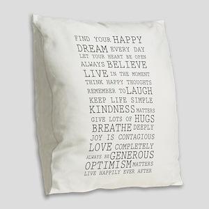 Positive Thoughts Burlap Throw Pillow