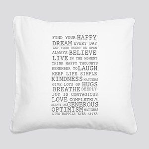 Positive Thoughts Square Canvas Pillow