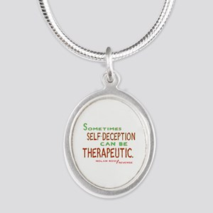 Revenge Self-Deception Quote Silver Oval Necklace