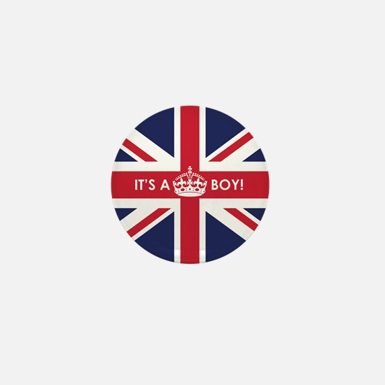 British Flag Its a Boy Mini Button