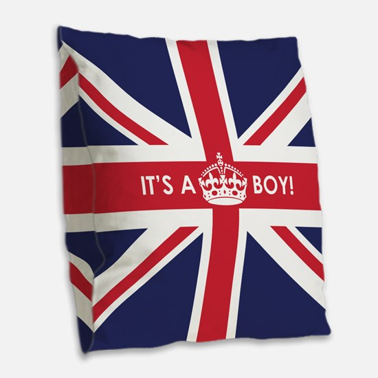 British Flag Its a Boy Burlap Throw Pillow