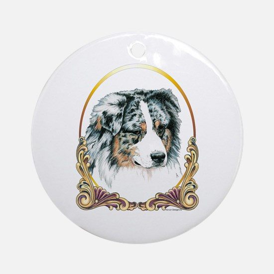 Merle Aussie Christmas/Holiday Ornament (Round)