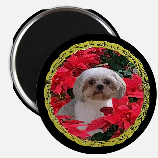 Shih Tzu Christmas Poinsettia Audrey Magnet