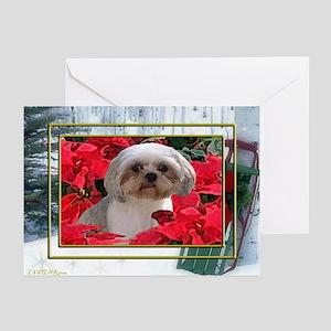 Shih Tzu Christmas Poinsettia Audrey Greeting Card