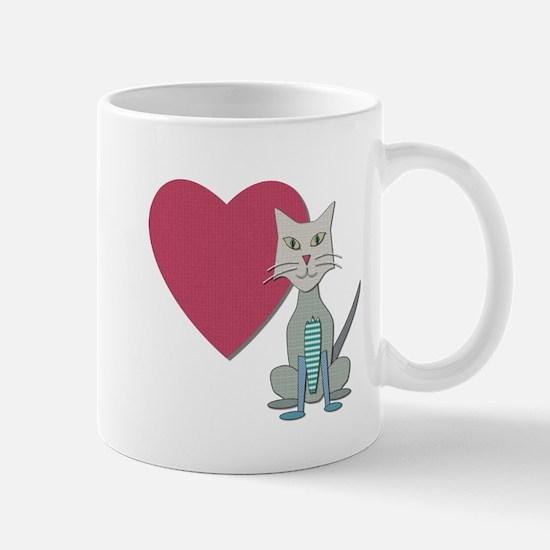 Fabric Heart And Cat Mug