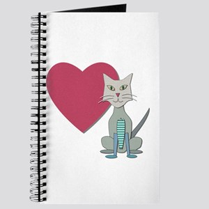 Fabric Heart And Cat Journal