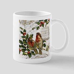 Vintage French Christmas birds and birdcage Mug