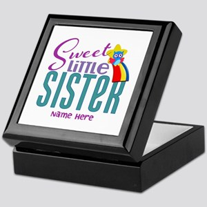 Personalized Name Sweet Little Sister Keepsake Box