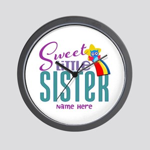 Personalized Name Sweet Little Sister Wall Clock