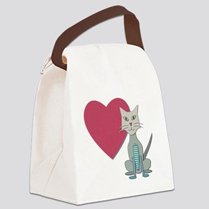 Fabric Heart And Cat Canvas Lunch Bag