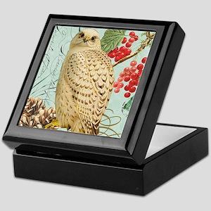 Vintage winter garden white owl Keepsake Box