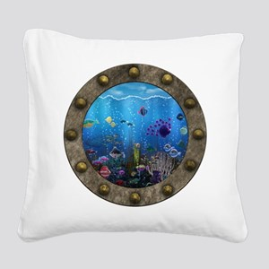 Underwater Love Porthole Square Canvas Pillow