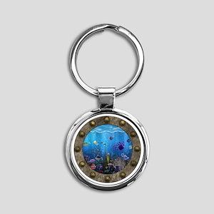 Underwater Love Porthole Round Keychain