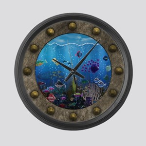 Underwater Love Porthole Large Wall Clock