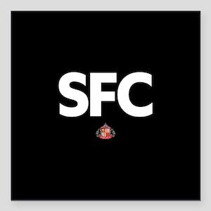 """Sunderland SFC -full ble Square Car Magnet 3"""" x 3"""""""