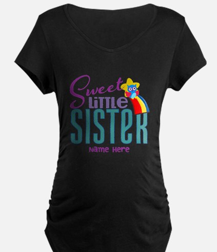 Personalized Name Sweet Little Sister Maternity T-