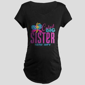 Personalized Big Sister Maternity Dark T-Shirt