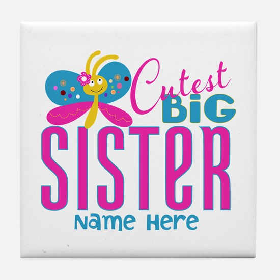 Personalized Big Sister Tile Coaster