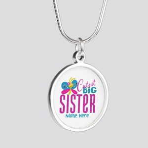 Personalized Big Sister Silver Round Necklace