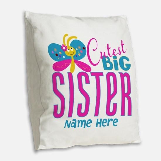 Personalized Big Sister Burlap Throw Pillow