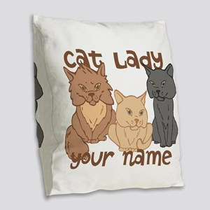 Personalized Cat Lady Burlap Throw Pillow