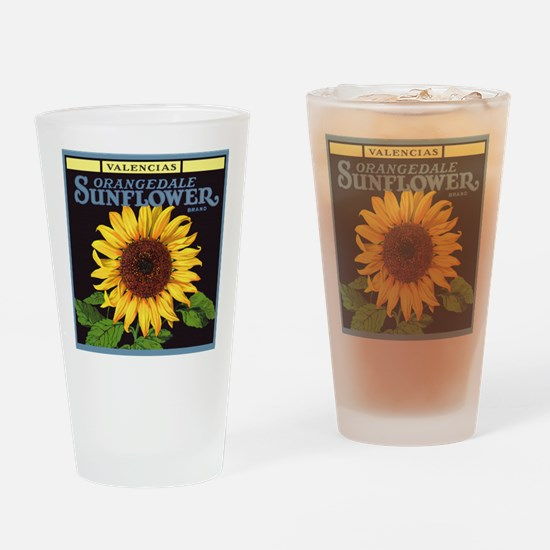 Vintage Fruit Crate Label Art, Sunflower Drinking