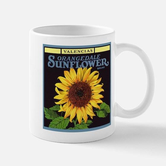 Vintage Fruit Crate Label Art, Sunflower Mug