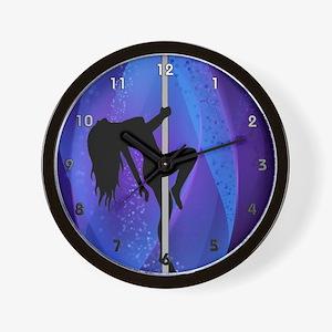 Pole Dancing Stripper - Purple Wall Clock