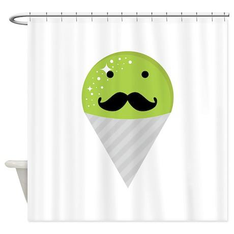 Green Snow Cone Mustache Shower Curtain by DessertLover