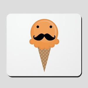 Orange Waffle Cone Mustache Face Mousepad