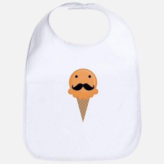Orange Waffle Cone Mustache Face Bib