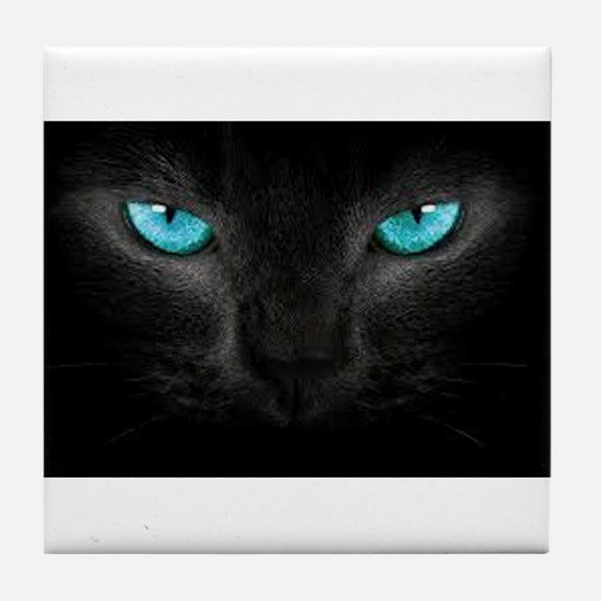 Black Cat with Ice Blue Eyes Tile Coaster