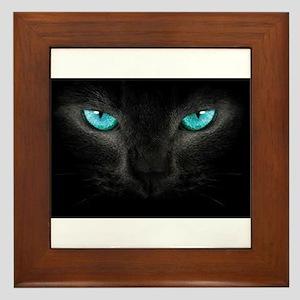 Black Cat with Ice Blue Eyes Framed Tile